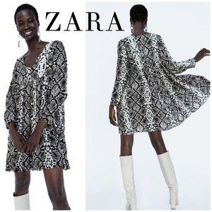 NWT ZARA Black & White Snakeskin Babydoll Dress